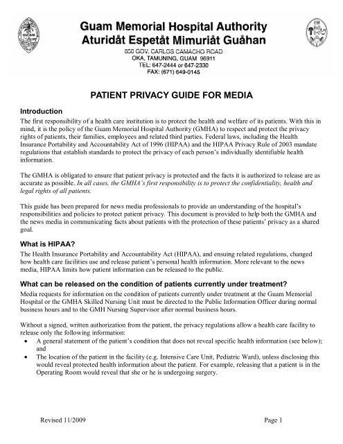 GMHA Patient Privacy Guide for Media - Guam Memorial Hospital