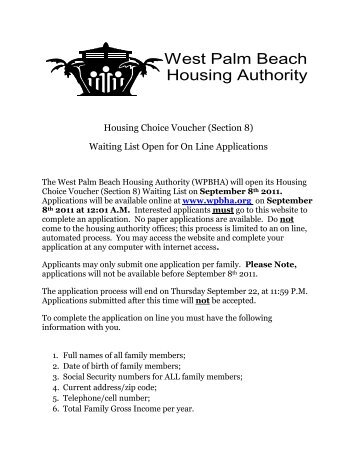 Palm Beach Housing Authority Application