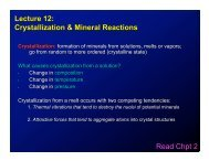 Lecture 12: Crystallization & Mineral Reactions Read Chpt 2