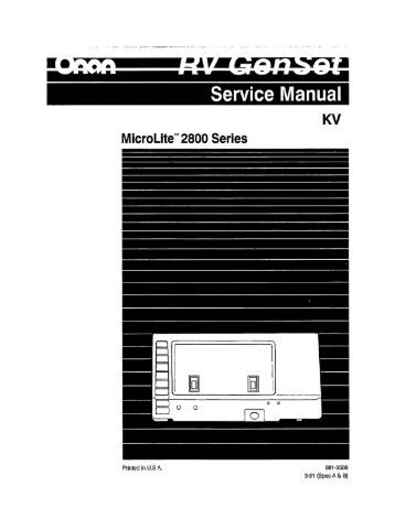 Onan microlite 2800 manual