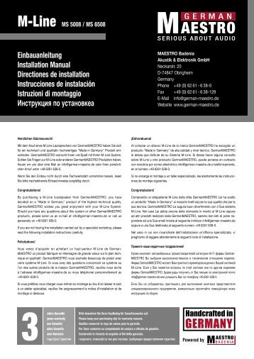 Einbauanleitung Installation Manual Directiones de installation ...