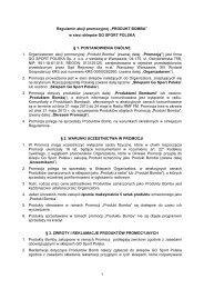 """Regulamin akcji promocyjnej """"PRODUKT BOMBA""""-5 - Go Sport"""