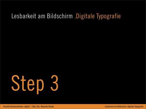 Lesbarkeit am Bildschirm .Digitale Typografie