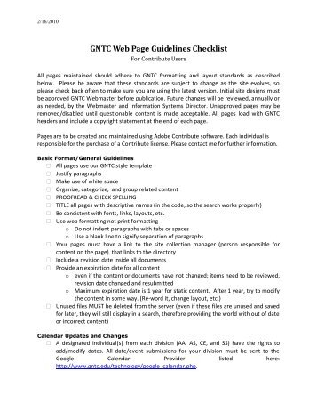 GNTC Web Page Guidelines Checklist