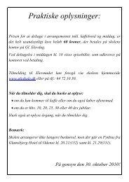 Praktiske oplysninger: - Glamsbjerg Fri- og Efterskole