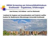 MRSA Screening am Universitätskliniukum Greifswald – Ergebnisse