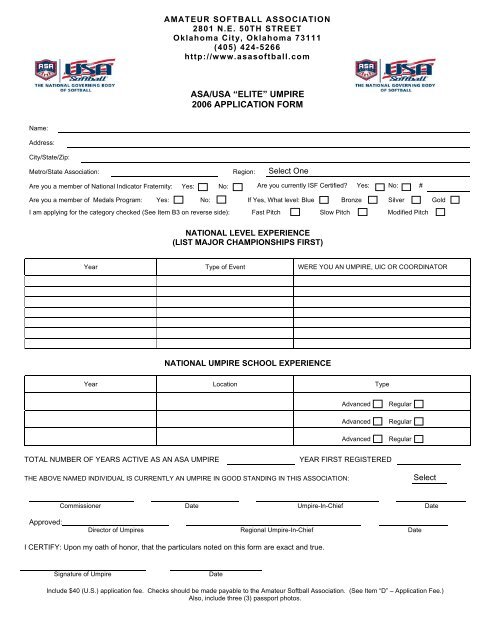 "ASA/USA ""ELITE"" UMPIRE 2006 APPLICATION FORM - Georgia ASA"