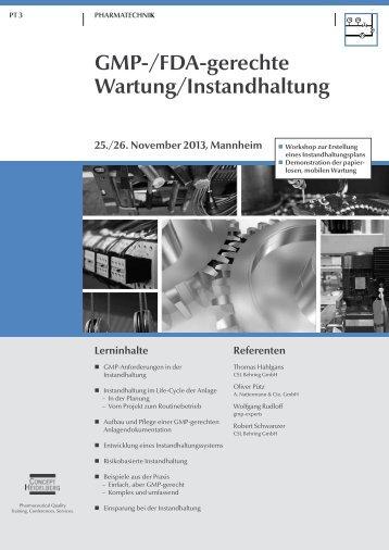 GMP-/FDA-gerechte Wartung / Instandhaltung (PT 3) - GMP-Navigator