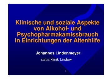 Klinische und soziale Aspekte von Alkohol- und - Über die BLS