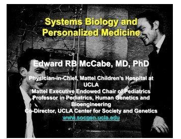 Presentation on Systems Biology - UCLA Human Genetics
