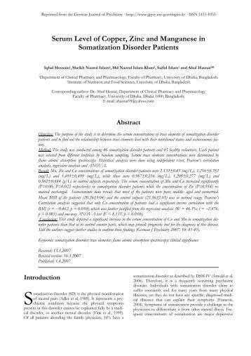 Serum Level of Copper, Zinc and Manganese in Somatization ...