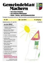 Amtsblatt Nr. 222 Mai 2013 - Gemeinde Machern