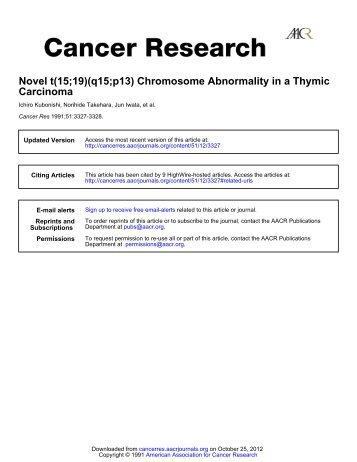Novel t(15;19)(ql5;pl3) Chromosome ... - Cancer Research