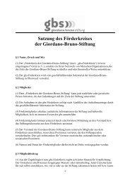 Satzung des Förderkreises der Giordano-Bruno-Stiftung