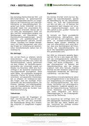 Auswertung der Umfrage - Gesundheitsforen Leipzig GmbH