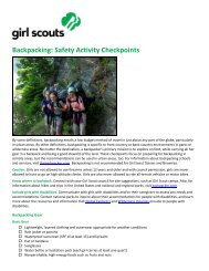 Backpacking: Safety Activity Checkpoints - Girl Scouts of Greater Iowa