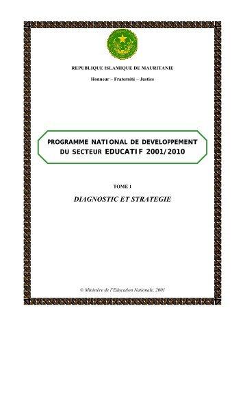 du secteur educatif 2001/2010 diagnostic et strategie - Global ...