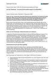 """MEDIENMITTEILUNG Geberit """"Sicher dabei!"""" 2009: Die ..."""