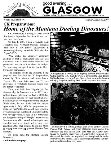 Home of the Montana Dueling Dinosaurs! - Glasgow Montana