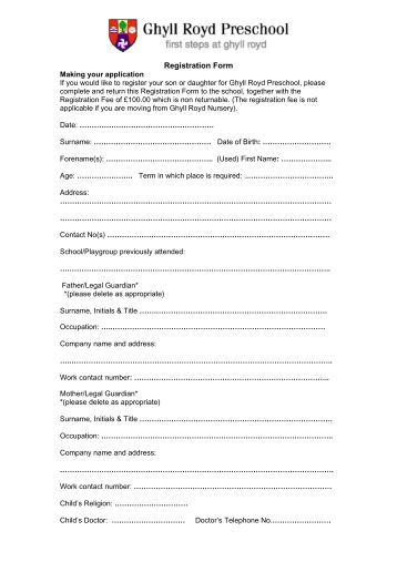 church nursery registration form