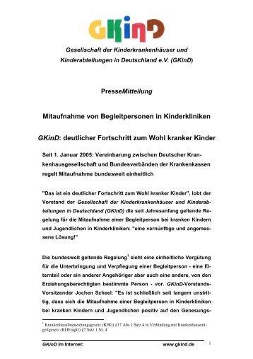 Mitaufnahme von Begleitpersonen in Kinderkliniken GKinD ...