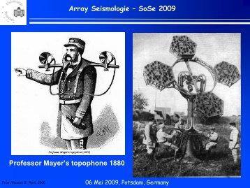 Array Seismologie ? SoSe 2009 Professor Mayer's topophone 1880