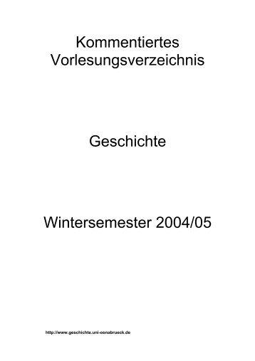Kommentiertes Vorlesungsverzeichnis Wintersemester 2004/2005