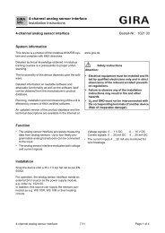 4-channel analog sensor interface Installation Instructions - Gira