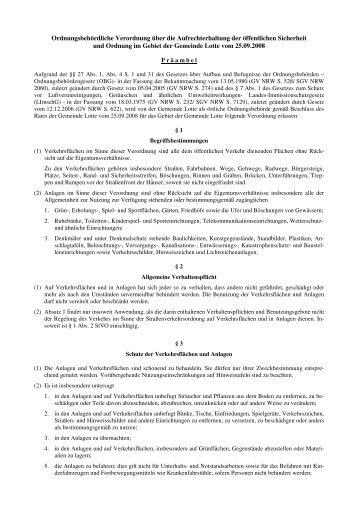 Ordnungsbehördliche Verordnung - PDF 52 kb - Gemeinde Lotte