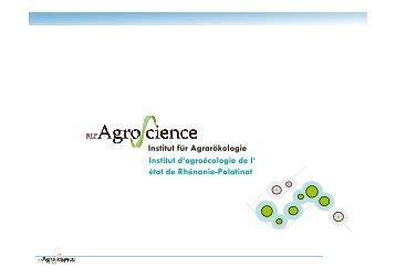 Institut für Agrarökologie Institut d'agroécologie de l' état de ...