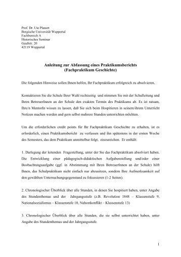 Anleitung zur Abfassung eines Praktikumsberichts (Fachpraktikum ...