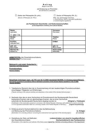 Antrag auf Zulassung zur Promotion - Fachbereich Geschichts ...