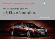 Preisliste Mercedes-Benz E-Klasse Limousine W212 vom 29.01.2009.