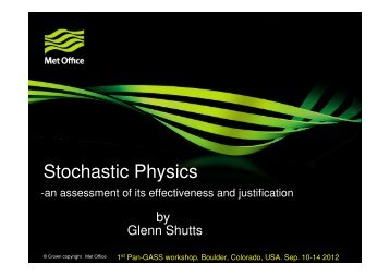 Stochastic Physics - GEWEX