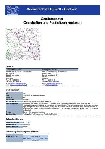 Ortschaften und Postleitzahlregionen - GIS-ZH - Kanton Zürich