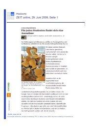 ZEIT online, 29. Juni 2009, Seite 1