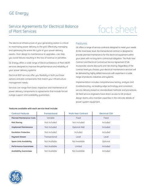 Electrical Balance Of Plant Bop Services Ge Industrial Systems