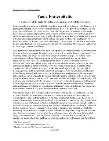 Fama Fraternitatis - Holy Order of the Golden Dawn Canada