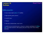 Lecture 19: Sulfides Read Chpt 9