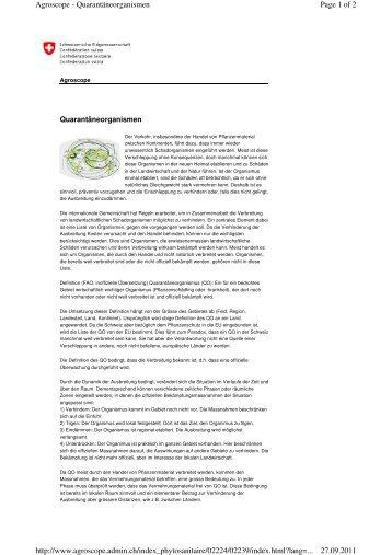 Page 1 of 2 Agroscope - Quarantäneorganismen 27.09.2011 http ...