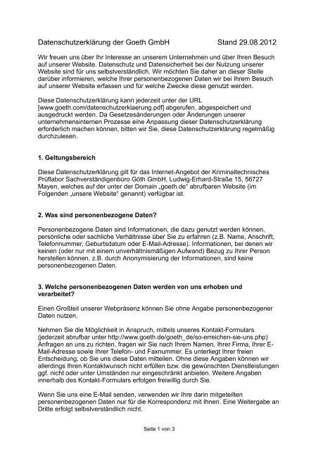 Datenschutzerklärung PDF-Download - GOETH GmbH