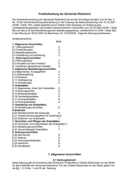 Friedhofsatzung der Gemeinde Röderland 1. Allgemeine Vorschriften