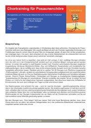 Chortraining für Posaunenchöre - Gnadauer Posaunenbund
