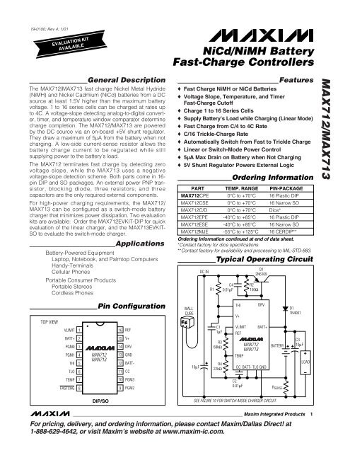 1x MAX713EPE NiCd//NiMH Battery Fast-Charge Controllers MAX713