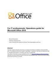 For IT professionals: Operations guide for Microsoft Office ... - GEGeek
