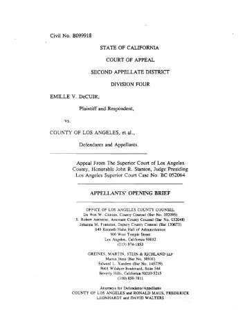 DeCuir v. County of Los Angeles Appellants - Greines, Martin, Stein ...