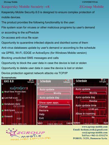 Kaspersky Mobile Secuirty -v8 ZGroup Mobile - Get Mobile game