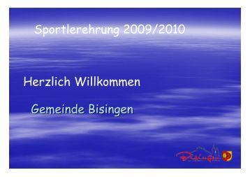 Gemeinde Bisingen Sportlerehrung 2009/2010 Herzlich Willkommen
