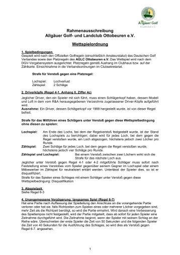 Rahmenausschreibung Allgäuer Golf- und Landclub Ottobeuren eV ...