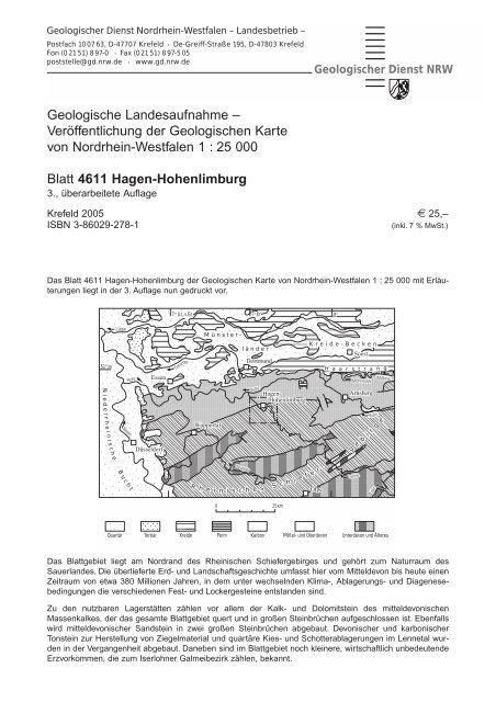 Geologische Karte Ruhrgebiet.4611 Hagen Hohenlimburg Geologischer Dienst Nrw
